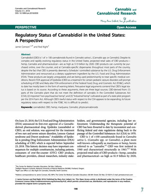 Regulatory Status of Cannabidiol in the United States: A Perspective