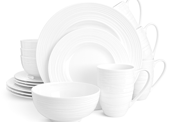 Divitis INFINITY Fine Bone China Dinnerware Set 16pcs (Soup Bowls, Dinner Plates