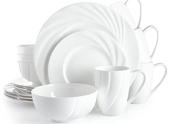 Divitis OCEAN Fine Bone China Dinnerware Set 16pcs (Soup Bowls, Dinne