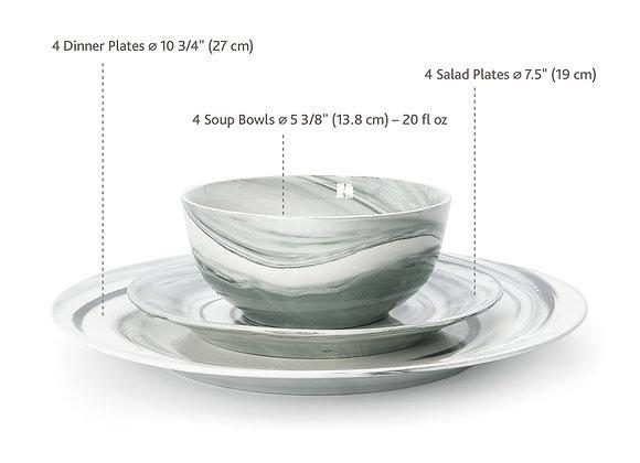 """Divitis FUSION Salad plates black 4 pcs 7.5"""", porcelain"""