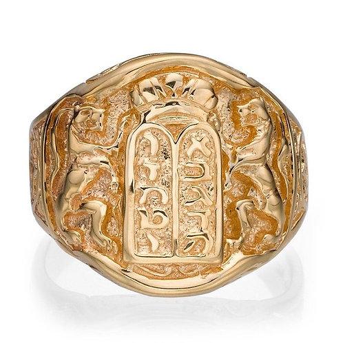 Lion of Judah 10k Gold Ring, Star of David Jewish Ring