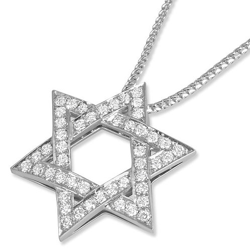18K White Gold Double Sided Star of David Pendant
