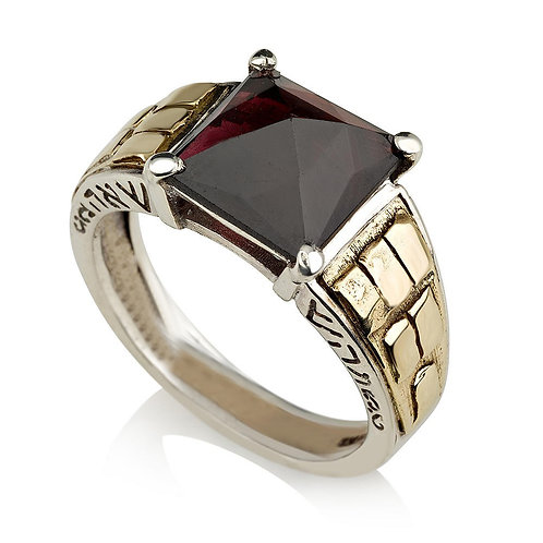 Sterling Silver and Gold Aaron the Priest Ring with Rose-Cut Onyx