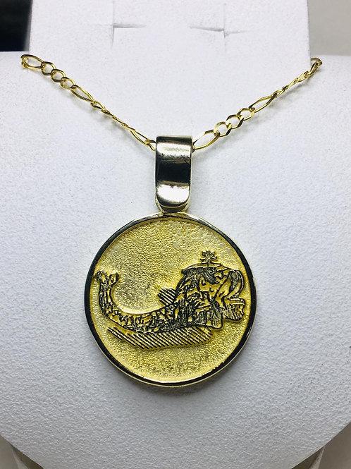 10K Red Dragon From Saint Cyprian Talisman handmade Gold 10K