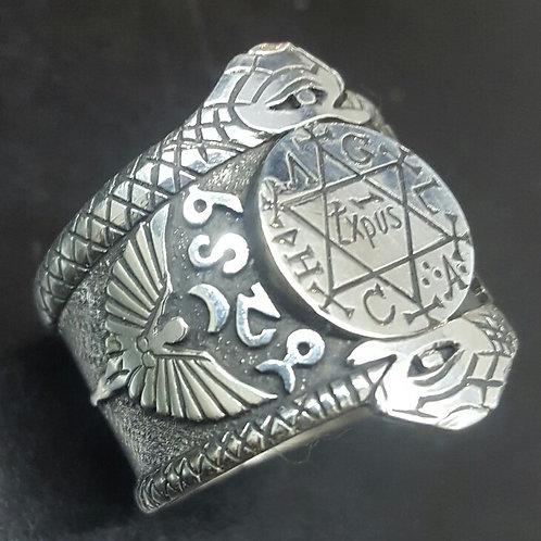 Solomon King Ring Great Seal Snake handmade silver .925
