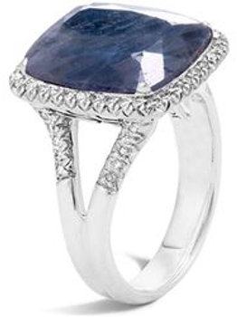 Sterling Silver Classic Chain Magic Cut Sapphire Ring with Diamonds