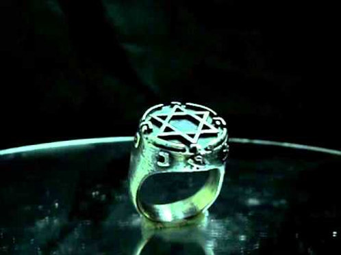King Solomon Ring Silver .925 Men Biker Skull Magic cabala mason Illuminati