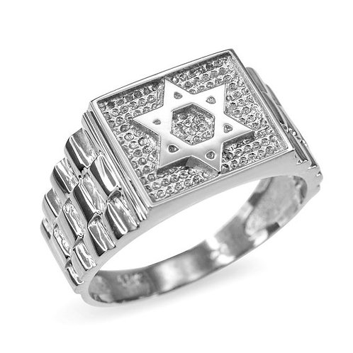 Star of David men's ring. Rolex style band hadmade Silver .925
