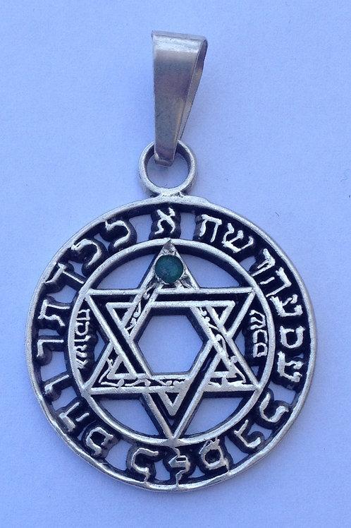Star of David handmade with Emerald Silver .925