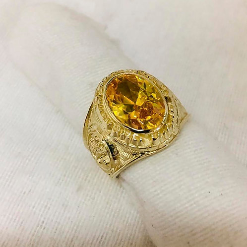 Jupiter Ring Infinite Wealth handmade Gold 10K Yellow Sapphire