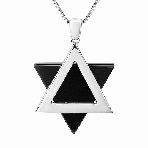 Star of David white Gold 14K with Onix Stone