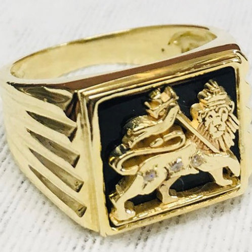 Lion of Judah Gold Ring 14K with Diamonds and Onix stone