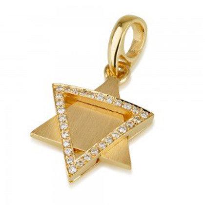 18K Brushed Yellow Gold Diamond Star of David Pendant
