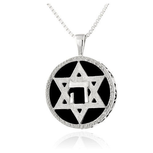 Star of David Solomon Jewelry handmade Silver .925 with Onix for Spell Protectio