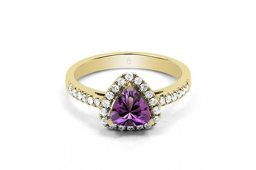 18ct Yellow Gold Amethyst & Diamond Trillion Engagement Ring