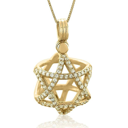 14K Gold and Diamonds Three Dimensional Star of David Ball Pendant