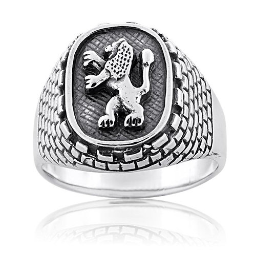 Sterling Silver Lion of Judah and Western Wall Ring