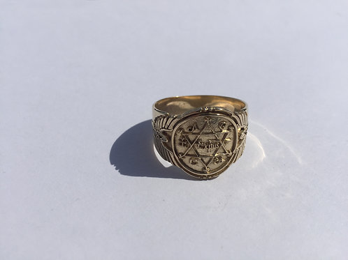 King Solomon Ring Of Power and Wisdom Handmade Solid Gold 10K