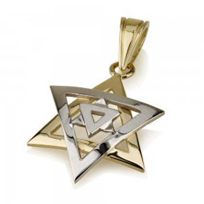 Star of David Pendant 14K Yellow and White Gold Double Domed