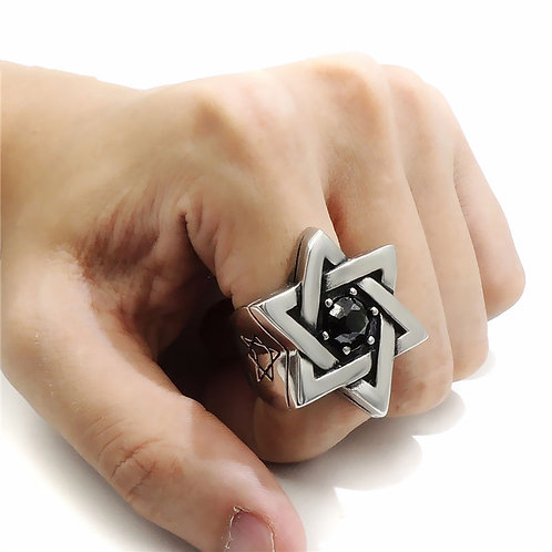 Solomon Seal Ring 3D with Onyx handmade Silver .925