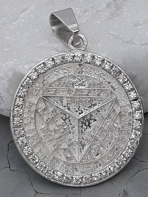 Seventh Pentacle of Saturn of Solomon King handmade Silver .925 with Zircon