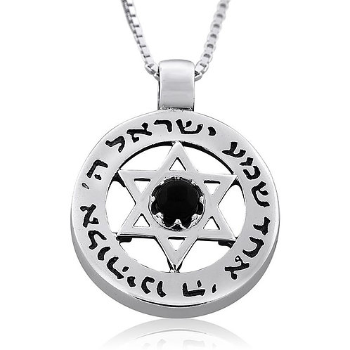 Sterling Silver Star of David Unisex Necklace with Shema Israel & Onyx Stone
