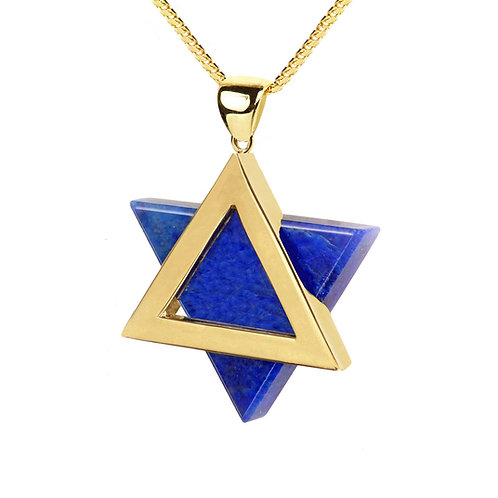 Star of David handmade Gold 14K  with Lapislazuli