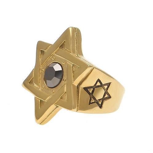 STAR OF DAVID RING MENS GOLD