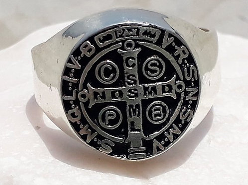 ST. Benedict Seal Ring For Spell Protection Gold 14K and Silver .925