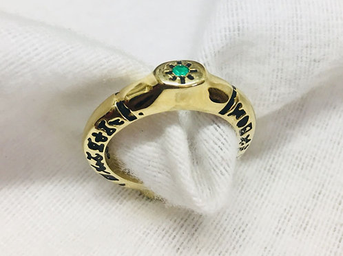 22K Saint Cyprian handmade Gold 22K with Natural Colombian Emerald