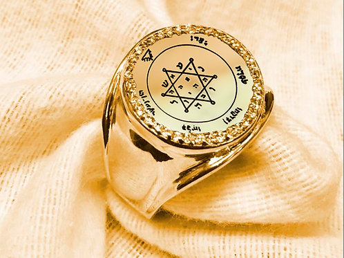 Jupiter Ring from Solomon King Second Pentacle for Wealth  Hand made Gold 10K