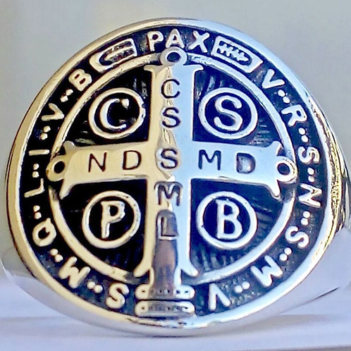 Saint Benedict 3D Ring handmade Silver .925