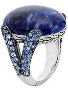 Sterling Silver Classic Chain Celestial Orb Sodalite Ring With Sapphire
