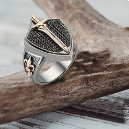 Saint Michael Sword Ring Gold 10K / Silver