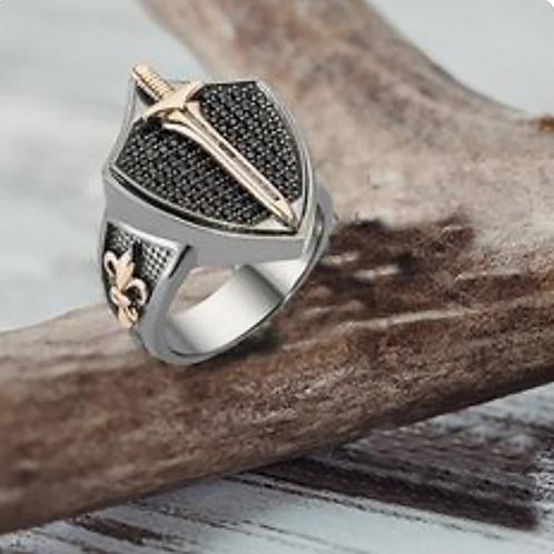 Saint Michael Sword Ring Gold 10K / Silver
