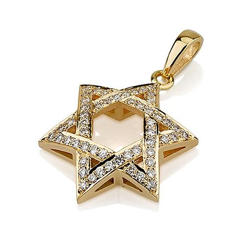 Diamond Woven Star of David Pendant handmade Solid Gold 18k