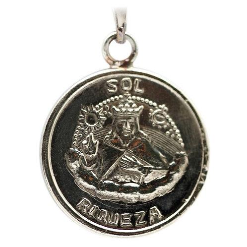 Riqueza King Solomon Medal handmade White Gold 10K