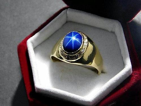 Sapphire star ring handmade in Gold 10K  & Diamonds