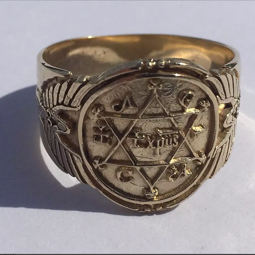 18K King Solomon Ring Of Power and Wisdom Handmade Solid Gold