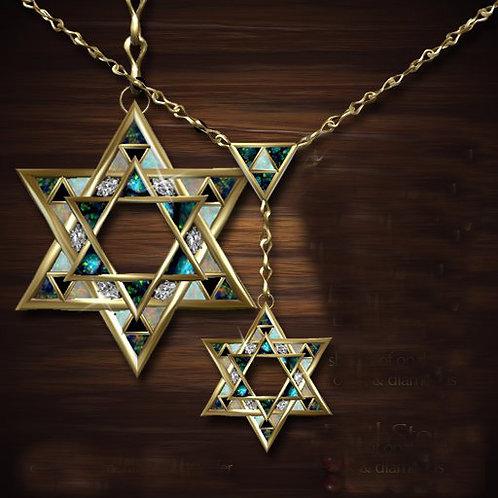 Star Of David Shine Stones handmade Gold 14K