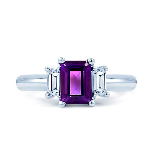 Amethyst ring with diamonds set in 18ct white gold