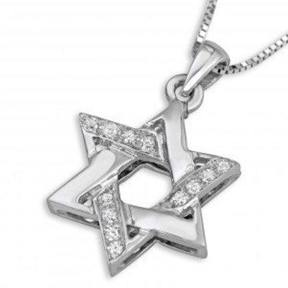 Star of David Pendant with Diamond Stones Gold 14K