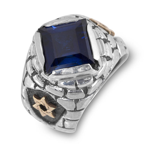 Sterling Silver Sapphire Ring with 10K Gold Stars of David