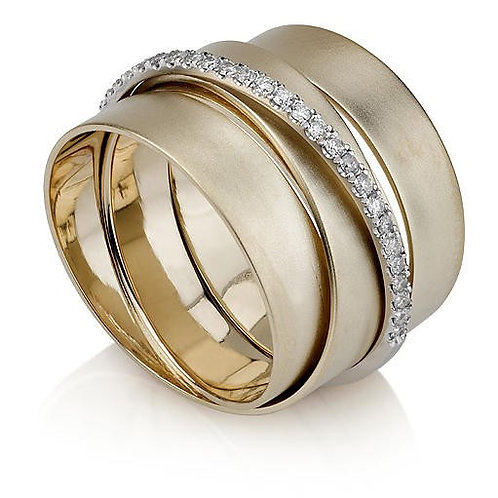 14K Yellow Gold Three Band Ring with Diamonds
