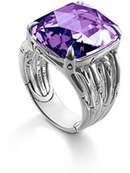 Octagon Ring with Amethyst Handmade Sterling Silver