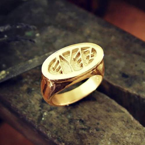 King Solomon's Ring With GOD Name In Ancient Aramaic. handmade Gold 14K
