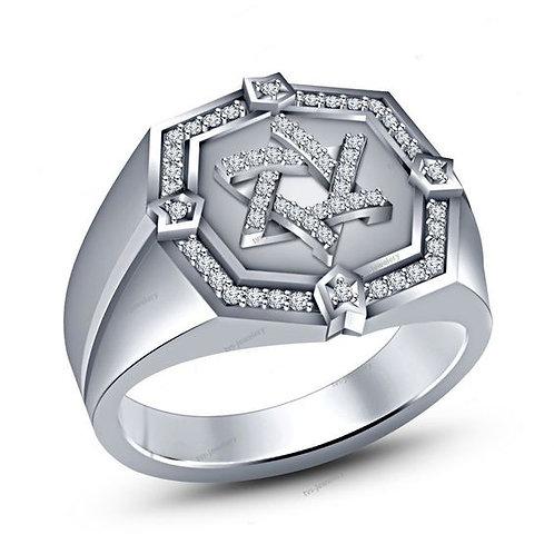 Solomon seal handmade white Gold and Diamonds