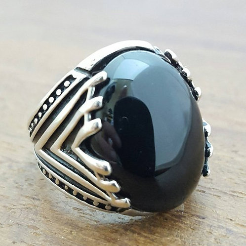 Handmade Silver Mens Ring With Onyx Stone