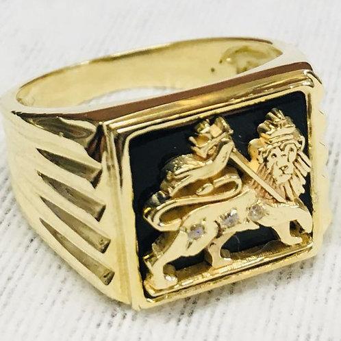 Lion of Judah Ring handmade Gold 10K & Diamonds
