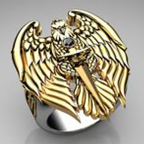 Saint Micheal Ring of Valor Gold 10K and Silver